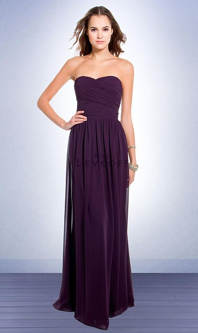 Bill Levkoff Strapless Chiffon Long Bridesmaid Dress 193