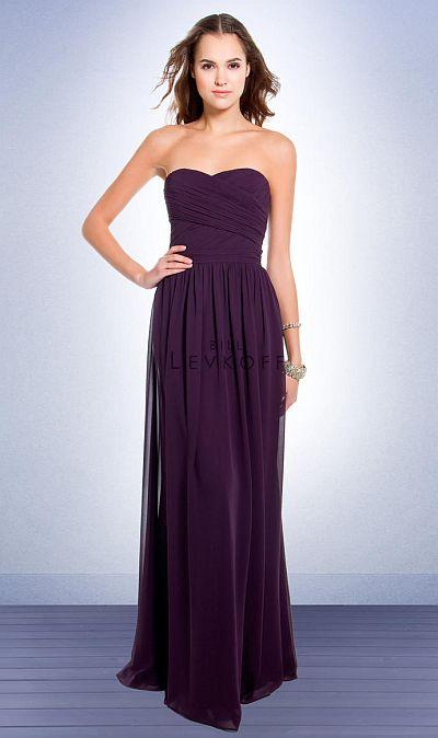 Bill Levkoff Strapless Chiffon Long Bridesmaid Dress 193: French ...