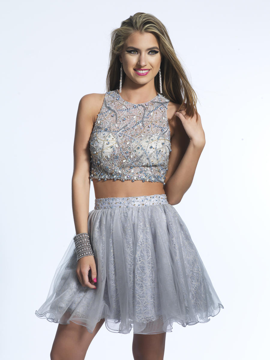 Dave And Johnny 1941 Crop Top 2pc Short Prom Dress French