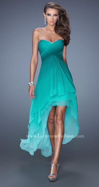 La Femme 19467 Ombre Tiered High Low Dress French Novelty