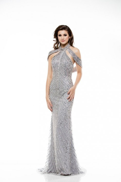 Colors Dress 1970 Halter Sequin Draped Gown: French Novelty