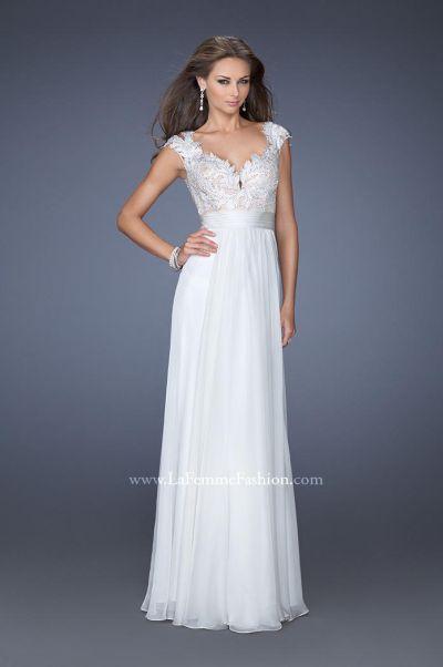La Femme 19805 Cap Sleeve Low Back Formal Dress French Novelty