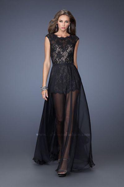 La Femme 19895 Romper Lace Evening Dress French Novelty