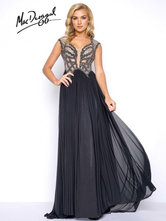 af87334433 Mac Duggal 20053M Beaded Illusion Prom Gown: French Novelty