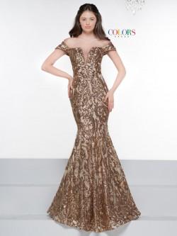 618e45beb90 Colors Dress 2037 Off Shoulder Sequin Mermaid Gown