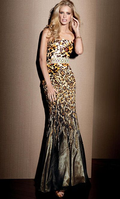 Claudine For Alyce Leopard Print Beaded Mermaid Dress 2039