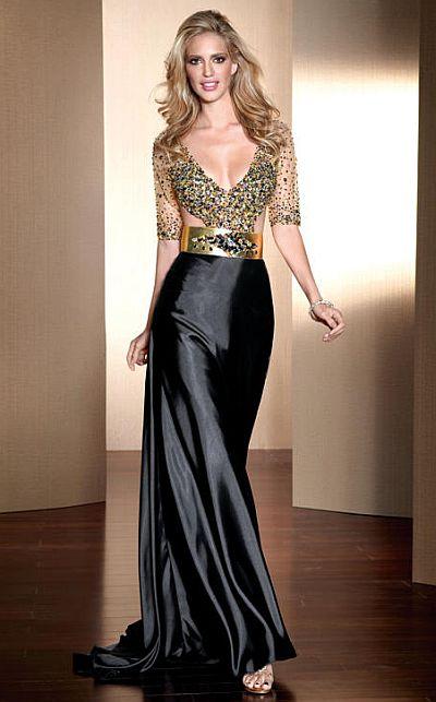 claudine for alyce deep v neck beaded prom dress 2041  french novelty