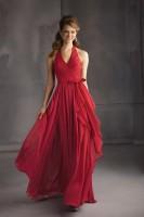 Size 16 Wine Angelina Faccenda 20432 Long Halter Bridesmaid Dress image