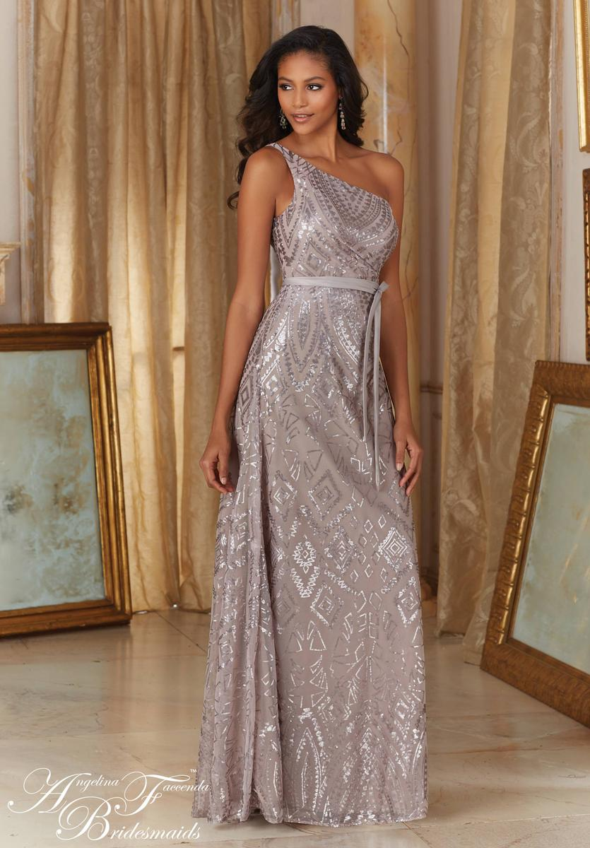 Angelina Faccenda 20486 One Shoulder Sequin Bridesmaid