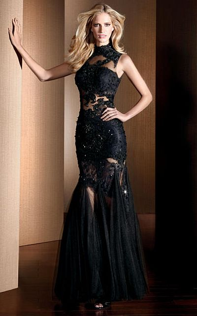 Claudine For Alyce Black Lace Illusion Mermaid Dress 2054 French