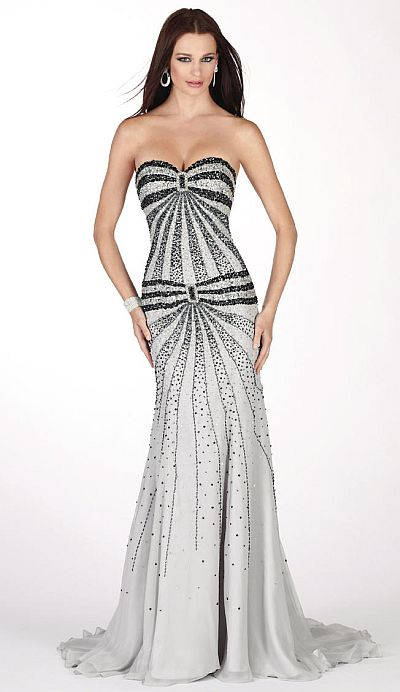 Claudine for Alyce Vertical Stripe Beaded Mermaid Prom Dress 2064 ...