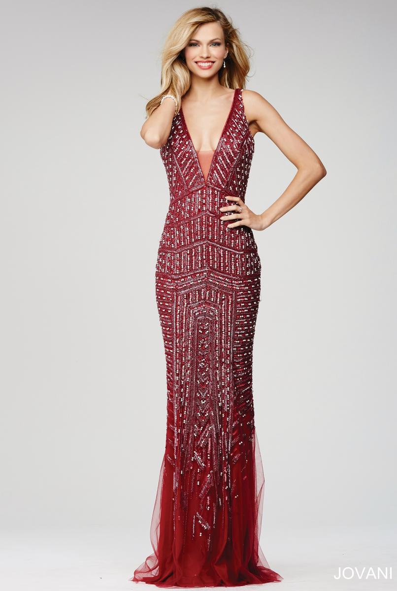jovani 20736 plunging neck floral gown  french novelty