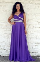Size 16W Grape Angela and Alison 21091W Plus Size Lace Up Back Dress image