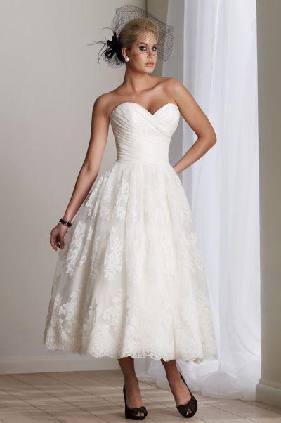 Destinations by mon cheri tea length informal wedding for Destination plus size wedding dresses