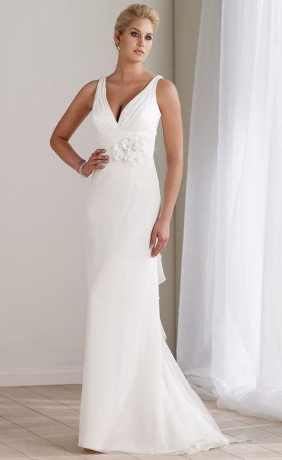 Mon cheri destinations chiffon v neck informal wedding for Immediate resource wedding dresses