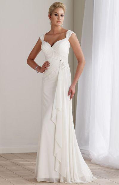 Destinations by mon cheri long lace casual wedding dress for Long sleeve casual wedding dresses