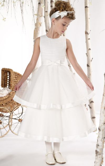 7ddb80ee7 Mon Cheri Joan Calabrese Satin Tulle Tiered Flower Girls Dress 211302:  French Novelty
