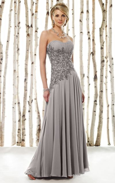 Cameron Blake Beaded Asymmetrical Chiffon Evening Dress 211620 ...