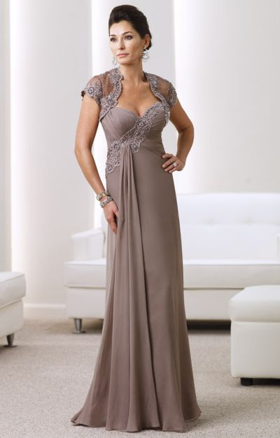 Montage Silk Chiffon and Lace Mother of the Bride Dress 211913