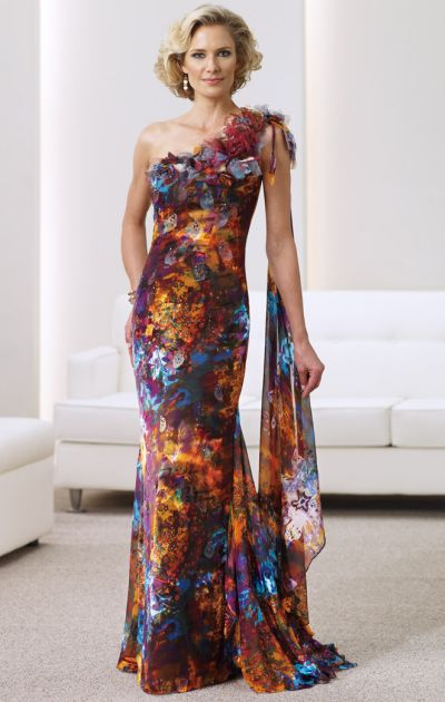Mon Cheri Montage Silk Burnout Print Mother of the Bride Dress ...
