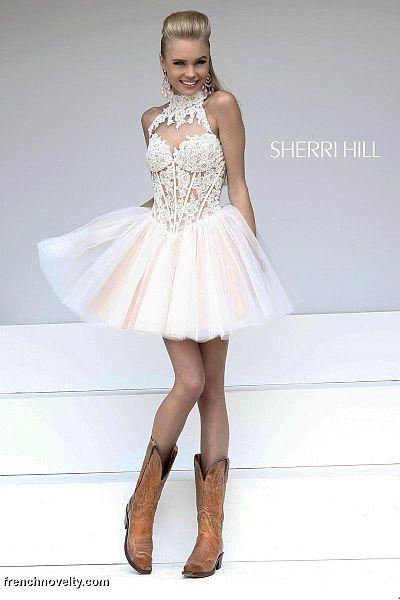 4360bbb2cd Sherri Hill 21193 High Neck Short Party Dress  French Novelty