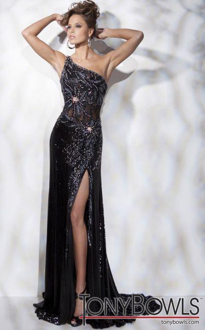Tony Bowls Collection Liquid Beaded Sheath Pageant Dress 211C75 ...