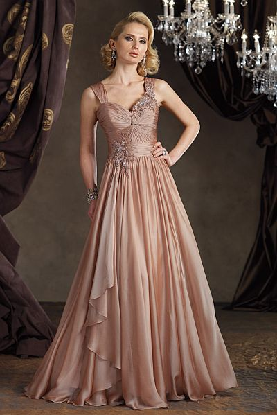 Ivonne D Iridescent Silk Chiffon Evening Dress 211D39: French Novelty