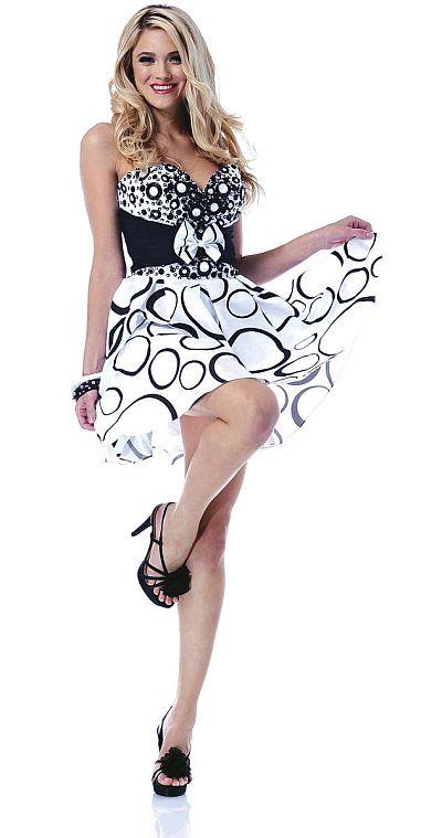 Johnathan Kayne Black and White Print Short Prom Dress 212: French ...