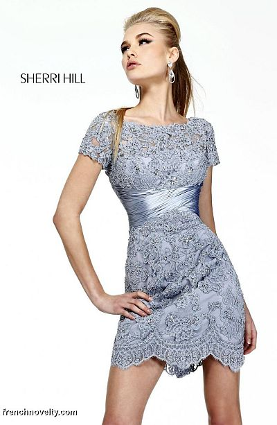 72a45e8c3f1 Sherri Hill 21204 Short Sleeve Lace Cocktail Dress  French Novelty