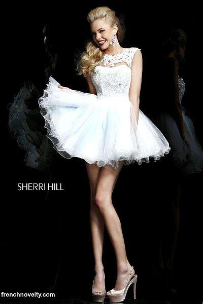 Sherri Hill 21217 Cap Sleeve Sheer Lace Short Dress French Novelty