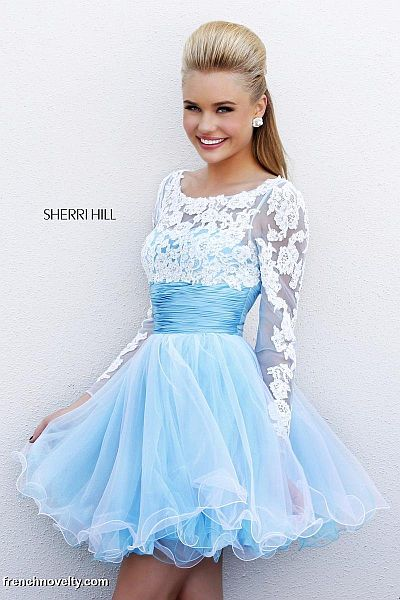 Sherri Hill 21234 Long Sleeve Sheer Lace Short Dress