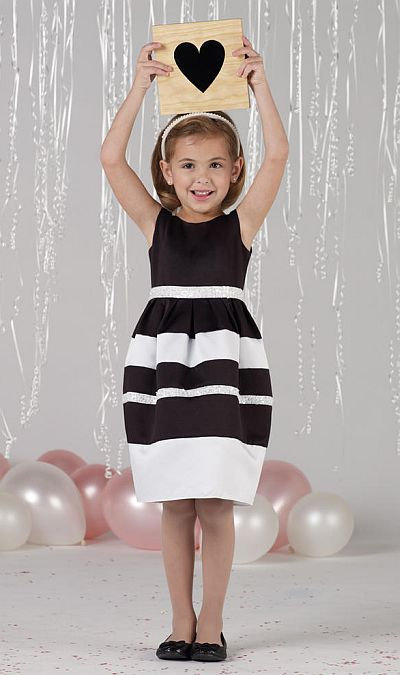 Joan Calabrese by Mon Cheri Girls Black and White Dress 212372 ...