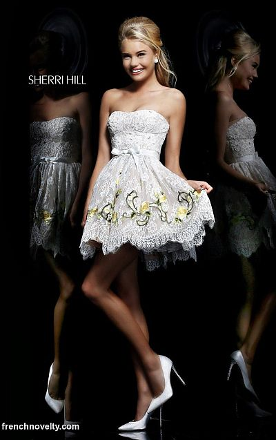 Sherri Hill 21320 Floral Lace Short Dress French Novelty