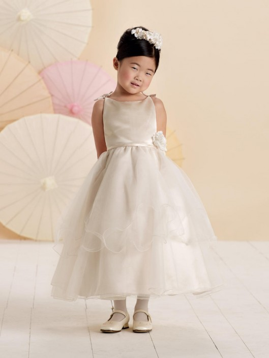 c350bac903e Joan Calabrese 214373 Tea Length Flower Girls Dress  French Novelty