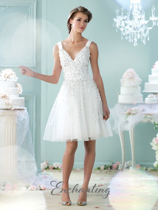 Enchanting By Mon Cheri 215104 Short Tulle Casual Wedding Dress