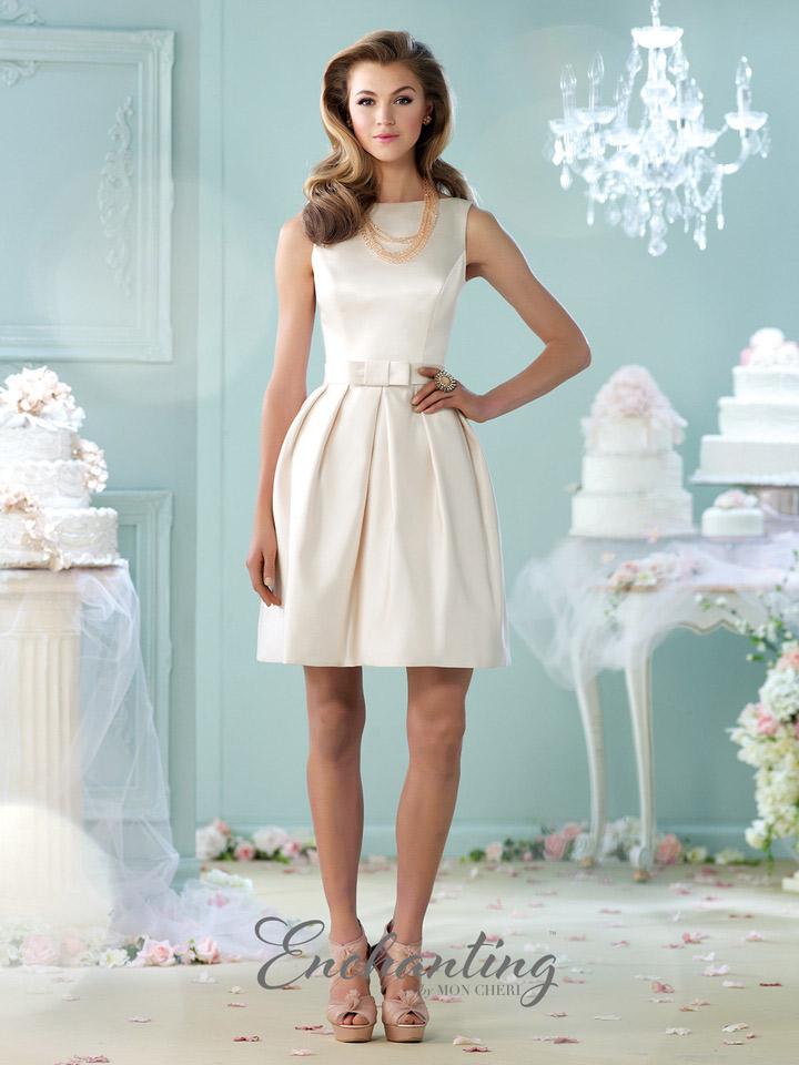 Enchanting by Mon Cheri 215109 Short Satin Casual Wedding Dress ...