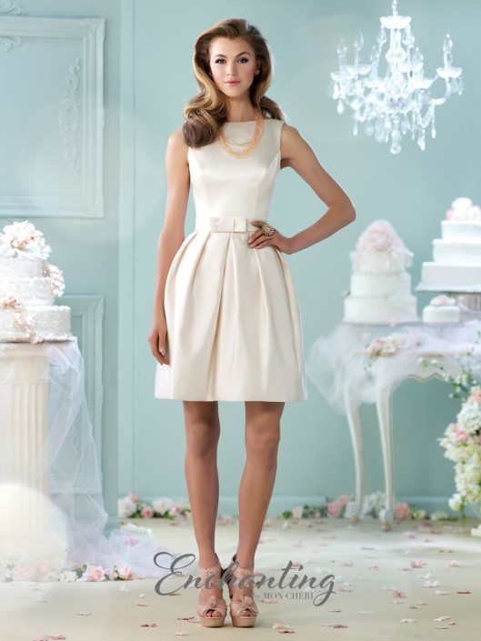 Enchanting By Mon Cheri 215109 Short Satin Casual Wedding Dress