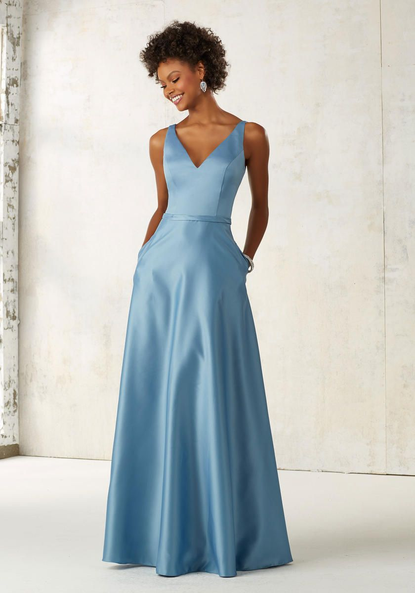 Morilee 21525 Satin Bridesmaid Dress with Pockets: French Novelty