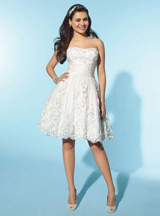 Alfred Angelo Little White Dress Short Destination Wedding Dress 2155 French