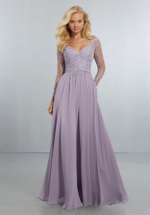 22bb5a7030e Morilee 21561 Sheer Long Sleeve Bridesmaid Gown  French Novelty