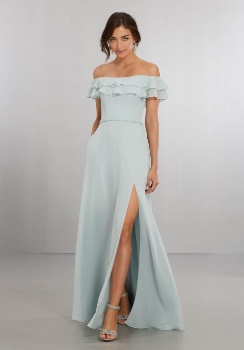 935f48e6587ae Size 10 Sky Morilee 21562 Off Shoulder Flounce Bridesmaid Dress: French  Novelty