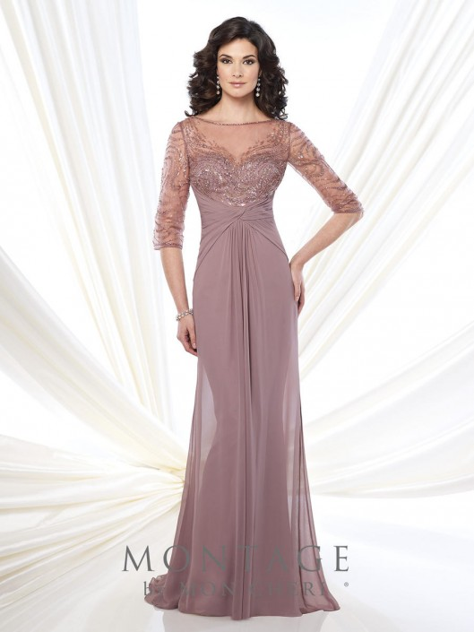 35ffbb488873 Montage 215919 Sheer Three Quarter Sleeve Gown: French Novelty