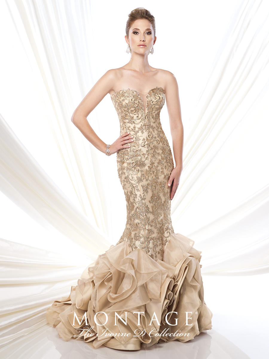Ivonne D for Mon Cheri 215D01 Lace Mermaid Gown: French Novelty