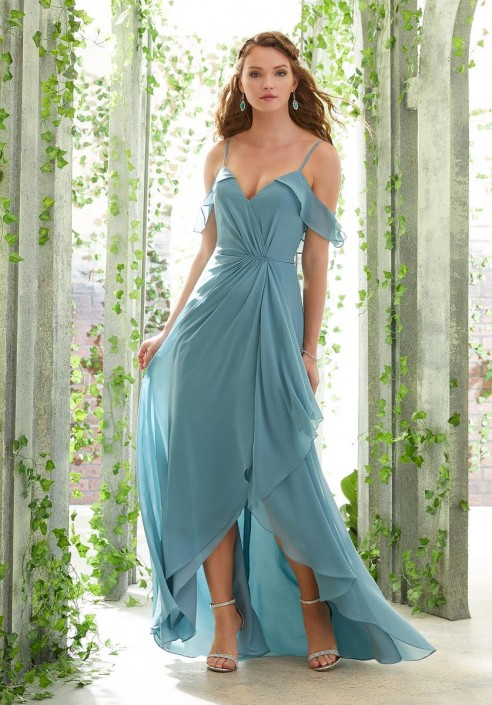 41b4d04d91586 Morilee 21615 Ruffle Cold Shoulder High Low Bridesmaid Dress: French Novelty