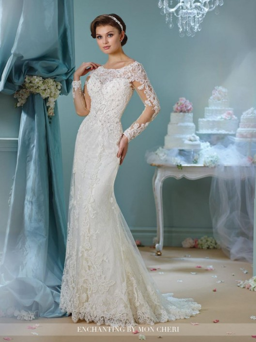 Enchanting by Mon Cheri 216161 Long Sleeve Lace Wedding Gown: French ...