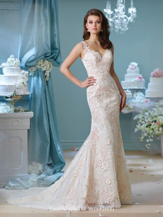 Enchanting by Mon Cheri 216163 Lace Trumpet Wedding Gown: French Novelty