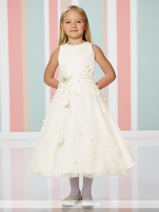 2d1f345f5f Joan Calabrese 216302 Girls Dress with 3D Flowers  French Novelty