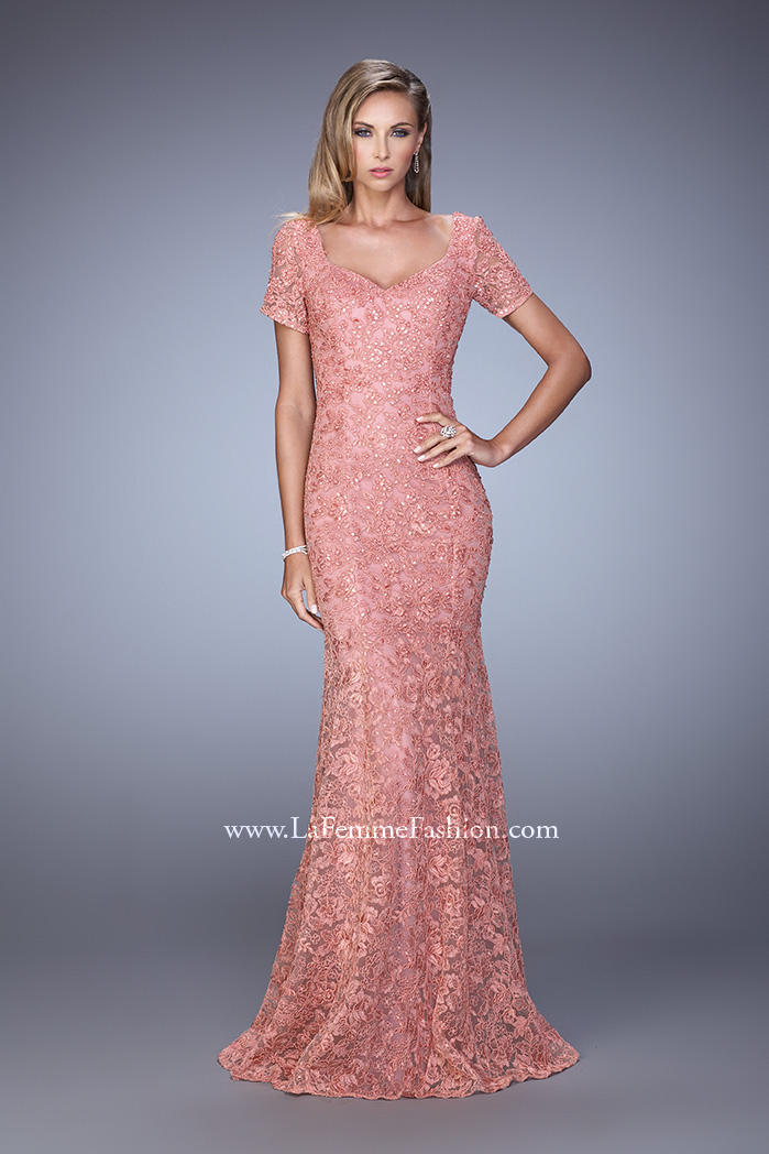 La femme evening 21657 lace formal dress french novelty for Antique rose wedding dress