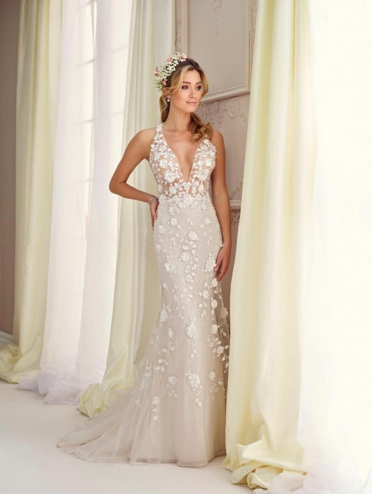 Destination Wedding Dresses.Enchanting By Mon Cheri 217109 Plunging Neck Informal Wedding Dress