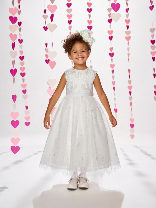4492ab0b045 Joan Calabrese by Mon Cheri 217377 Sequin Lace Flower Girl Dress  French  Novelty